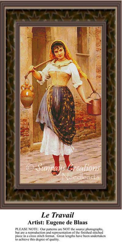 Le Travail, Fine Art Counted Cross Stitch Pattern, Women Counted Cross Stitch Pattern