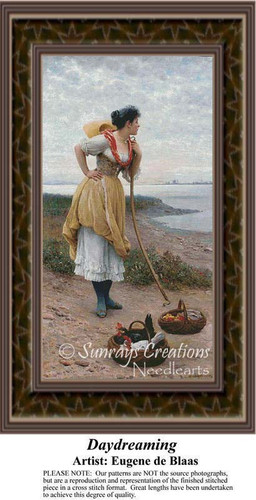 Daydreaming, Fine Art Counted Cross Stitch Pattern, Women Counted Cross Stitch Pattern