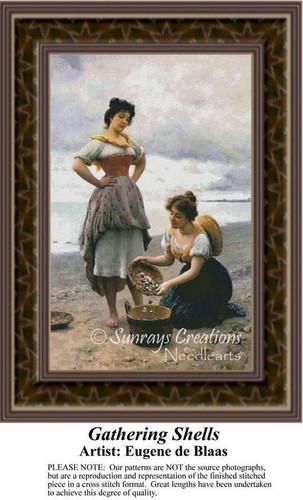 Gathering Shells, Fine Art Counted Cross Stitch Pattern, Women Counted Cross Stitch Pattern