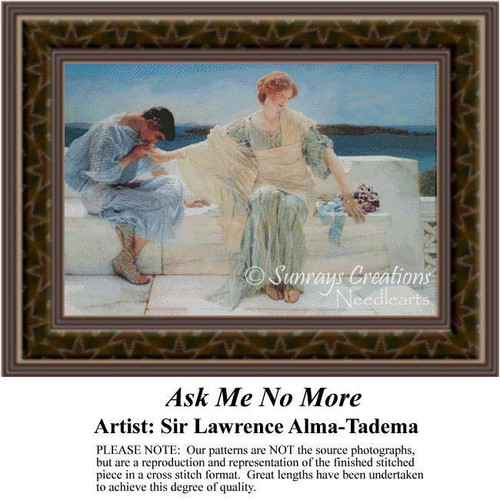 Ask Me No More, Fine Art Counted Cross Stitch Pattern, Romance Counted Cross Stitch Pattern