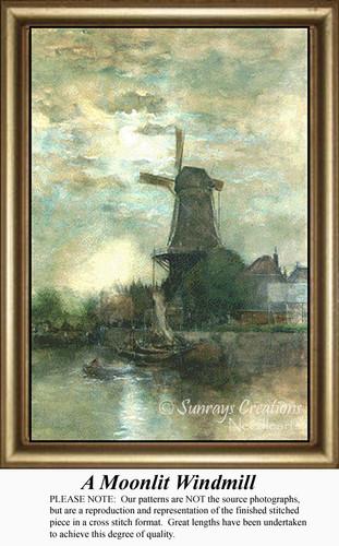 A Moonlit Windmill, Counted Cross Stitch Pattern