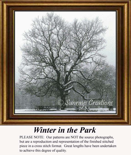 Winter in the Park, Trees Counted Cross Stitch Pattern, Winter Counted Cross Stitch Pattern
