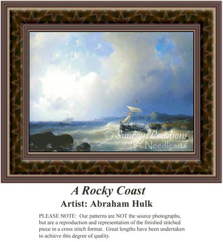 A Rocky Coast, Waterscapes Counted Cross Stitch Pattern, Fine Art Counted Cross Stitch Pattern