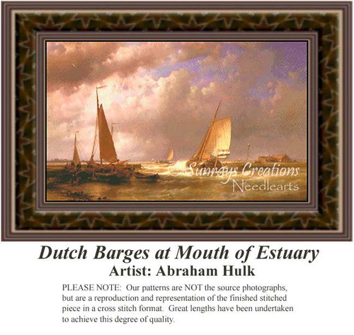 Dutch Barges at Mouth of Estuary, Fine Art Counted Cross Stitch Pattern, Waterscapes Cross Stitch Patterns