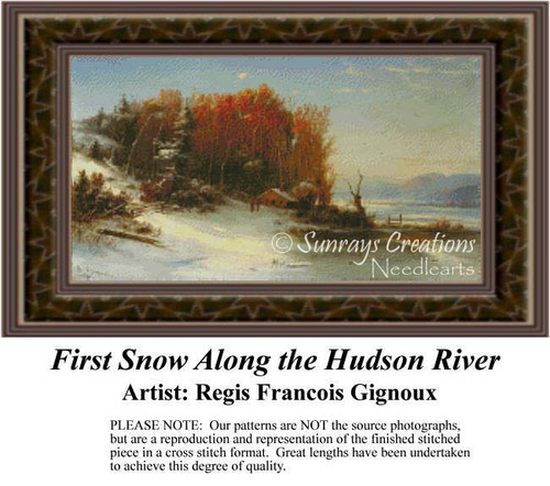 First Snow Along the Hudson River, Fine Art Counted Cross Stitch Pattern, Alluring Landscapes Counted Cross Stitch Pattern, Winter Counted Cross Stitch Pattern