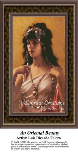 An Oriental Beauty, Fine Art Counted Cross Stitch Pattern, Women Counted Cross Stitch Pattern
