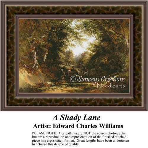A Shady Lane, Fine Art Counted Cross Stitch Pattern, Alluring Landscapes Counted Cross Stitch Pattern