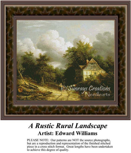 A Rustic Rural Landscape, Fine Art Counted Cross Stitch Pattern, Alluring Landscapes Counted Cross Stitch Pattern