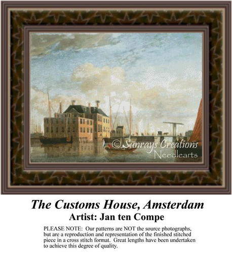 The Customs House, Amsterdam, Architecture Counted Cross Stitch Pattern, Fine Art Counted Cross Stitch Pattern