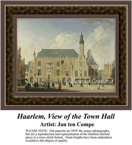 Haarlem, View of the Town Hall, Architecture Counted Cross Stitch Pattern, Fine Art Counted Cross Stitch Pattern, Urban Counted Cross Stitch Pattern