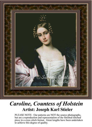 Caroline, Countess of Holstein, Fractal Counted Cross Stitch Pattern, Women Counted Cross Stitch Pattern