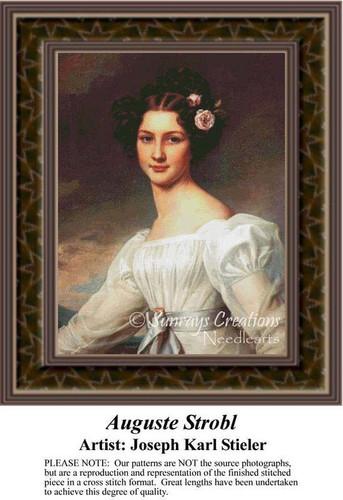Auguste Strobl, Fine Art Counted Cross Stitch Pattern, Women Counted Cross Stitch Pattern