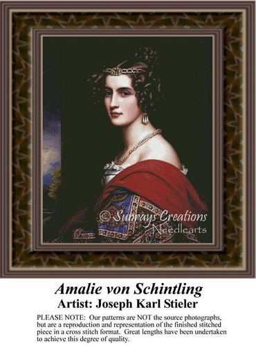 Amalie von Schintling, Fine Art Counted Cross Stitch Pattern, Women Counted Cross Stitch Pattern