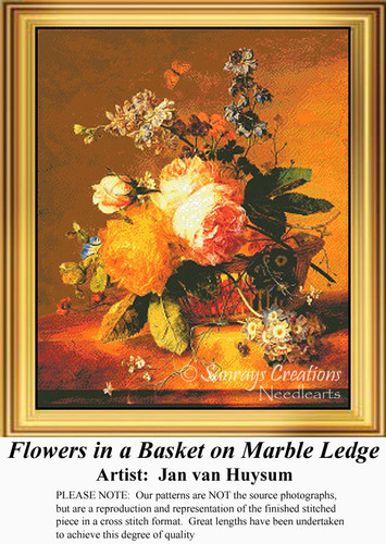 Flowers in a Basket on Marble Ledge, Fine Art Counted Cross Stitch Pattern