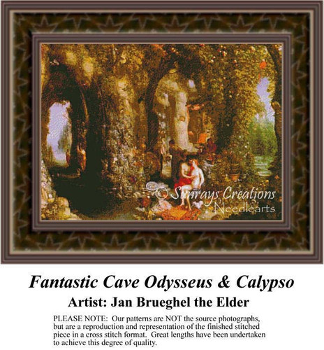 Fantastic Cave Odysseus & Calypso, Fine Art Counted Cross Stitch Pattern