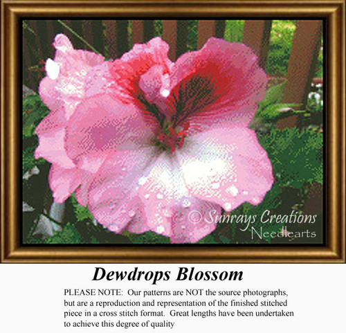 Dewdrops Blossom, Flowers Counted Cross Stitch Pattern