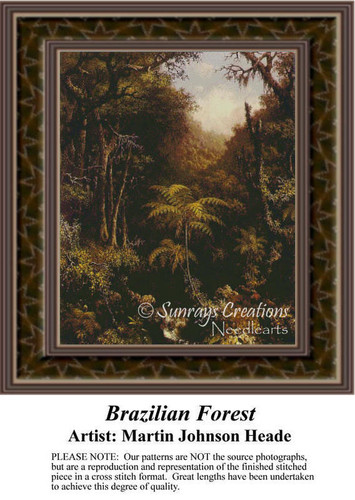 Brazilian Forest, Fine Art Counted Cross Stitch Pattern, Alluring Landscapes Counted Cross Stitch Pattern