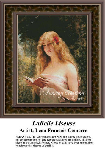 LaBelle Liseuse, Fine Art Counted Cross Stitch Pattern, Women Counted Cross Stitch Pattern