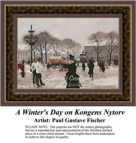A Winter's Day on Kongens Nytorv, Fine Art Counted Cross Stitch Pattern, Winter Counted Cross Stitch Pattern