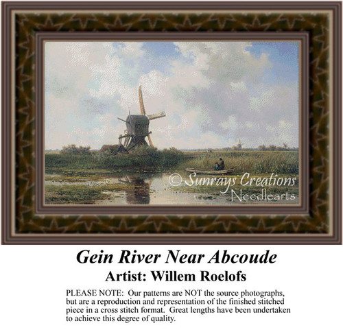 Gein River Near Abcoude, Windmill Counted Cross Stitch Pattern