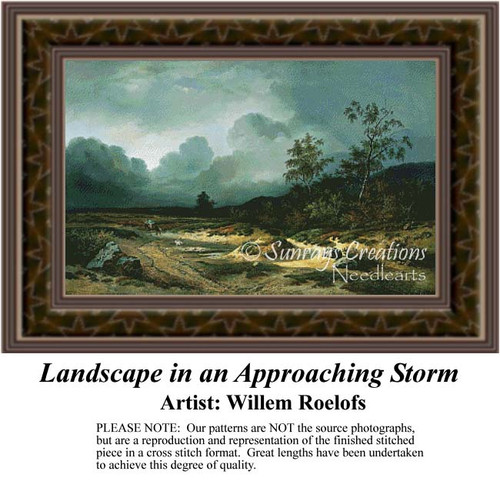 Landscape in an Approaching Storm, Fine Art Counted Cross Stitch Pattern, Alluring Landscapes Counted Cross Stitch Pattern