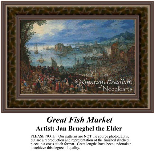Great Fish Market, Fine Art Counted Cross Stitch Pattern, Social Counted Cross Stitch Patterns