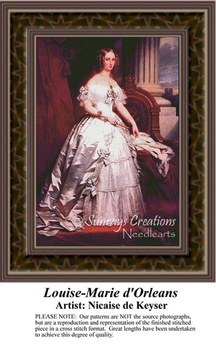 Louise-Marie d'Orleans, Fine Art Counted Cross Stitch Pattern, Women Counted Cross Stitch Pattern