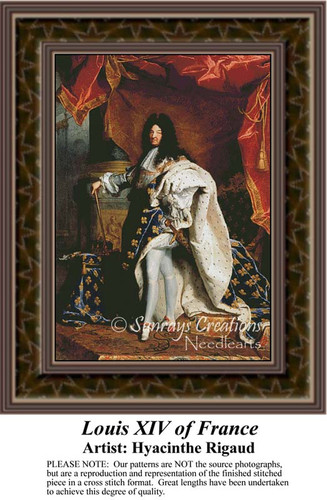 Louis XIV of France, Nobility Counted Cross Stitch Pattern, Fine Art Counted Cross Stitch Pattern