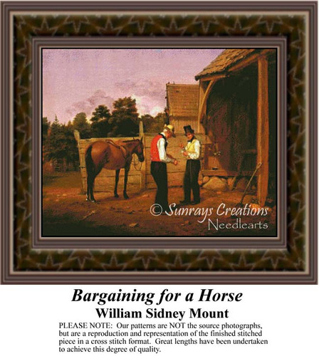 Bargaining for a Horse, Fine Art Counted Cross Stitch Pattern