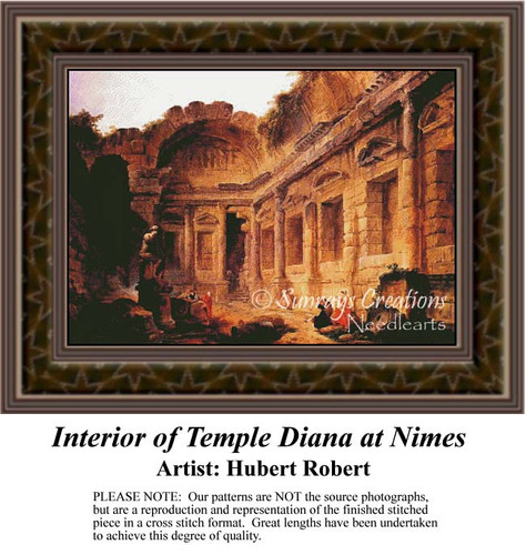 Interior of Temple Diana at Nimes, Interiors Counted Cross Stitch Pattern, Fine Art Counted Cross Stitch Pattern