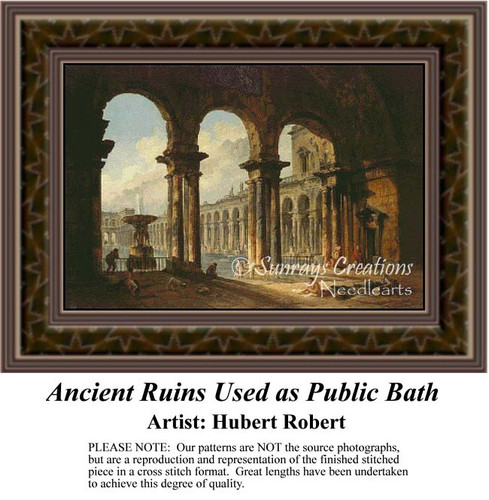 Ancient Ruins Used as Public Bath, Architecture Counted Cross Stitch Pattern, Fine Art Counted Cross Stitch Pattern