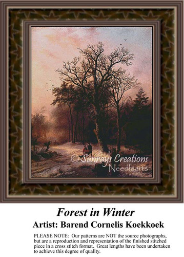 Forest in Winter, Fine Art Counted Cross Stitch Pattern, Winter Counted Cross Stitch Pattern, Alluring Landscapes Counted Cross Stitch Patterns