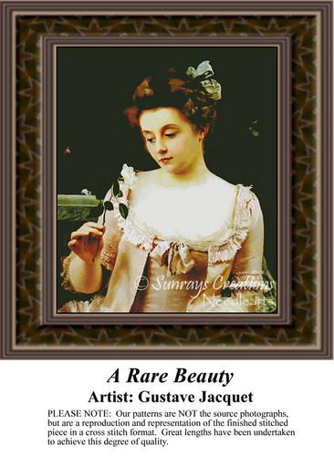 A Rare Beauty, Fine Art Counted Cross Stitch Pattern, Women Counted Cross Stitch Pattern