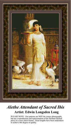 Alethe Attendant of Sacred Ibis, Fine Art Counted Cross Stitch Pattern, Women Counted Cross Stitch Pattern