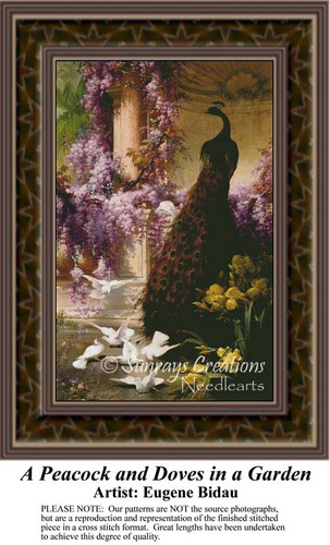 A Peacock and Doves in a Garden, Fine Art Counted Cross Stitch Pattern