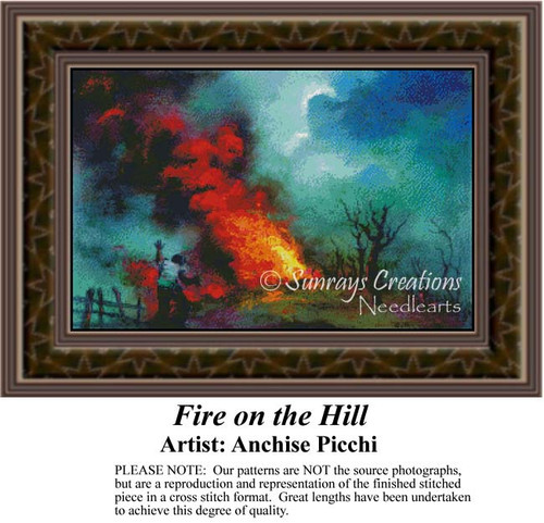Fire on the Hill, Fine Art Counted Cross Stitch Pattern