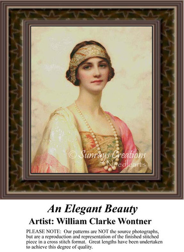 An Elegant Beauty, Fine Art Counted Cross Stitch Pattern, Women Counted Cross Stitch Pattern