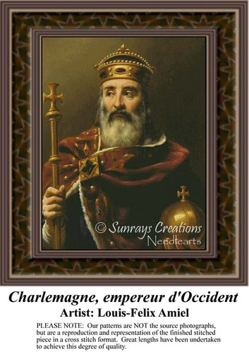 Charlemagne, empereur d'Occident, Fine Art Counted Cross Stitch Pattern, Nobility Counted Cross Stitch Pattern