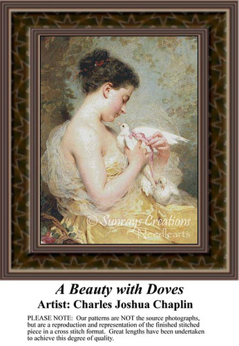 A Beauty with Doves, Fine Art Counted Cross Stitch Pattern, Women Counted Cross Stitch Pattern