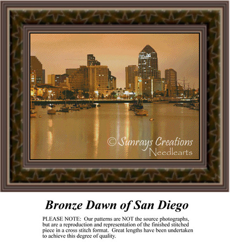 Bronze Dawn of San Diego, Waterscapes Counted Cross Stitch Patterns, Urban Counted Cross Stitch Patterns,