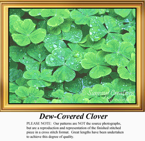 Dew-Covered Clover, Irish Counted Cross Stitch Pattern