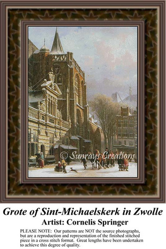 Grote of Sint-Michaelskerk in Zwolle, Architecture Counted Cross Stitch Pattern, Fine Art Counted Cross Stitch Pattern