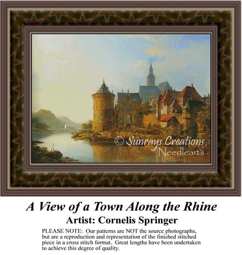 A View of a Town Along the Rhine, Fine Art Counted Cross Stitch Pattern, Urban Counted Cross Stitch Pattern