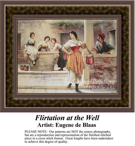 Flirtation at the Well, Fine Art Counted Cross Stitch Pattern, Romance Counted Cross Stitch Patterns, Social Counted Cross Stitch Patterns