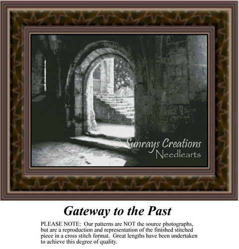 Gateway to the Past, Sepia Counted Cross Stitch Pattern