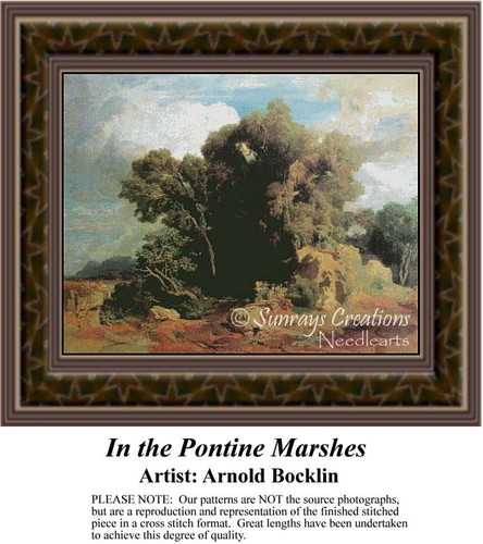 In the Pontine Marshes, Fine Art Counted Cross Stitch Pattern, Alluring Landscapes Counted Cross Stitch Patterns