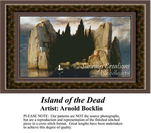 Island of the Dead, Fine Art Counted Cross Stitch Pattern