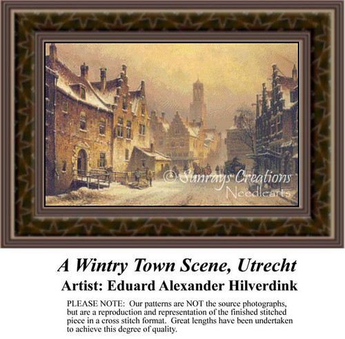A Wintry Town Scene, Ultrecht, Urban Counted Cross Stitch Pattern, Fine Art Counted Cross Stitch Pattern