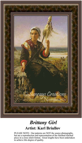 Brittany Girl, Fine Art Counted Cross Stitch Pattern, Children Counted Cross Stitch Pattern