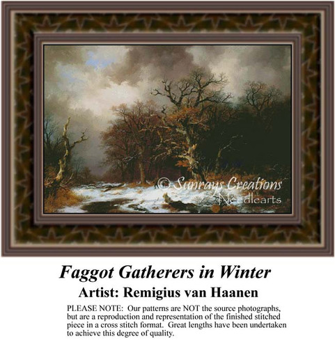 Faggot Gatherers in Winter, Fine Art Counted Cross Stitch Pattern, Winter Counted Cross Stitch Pattern, Alluring Landscapes Counted Cross Stitch Pattern